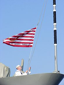 Raising the first naval jack